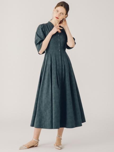 フラワージャガードシャツドレス