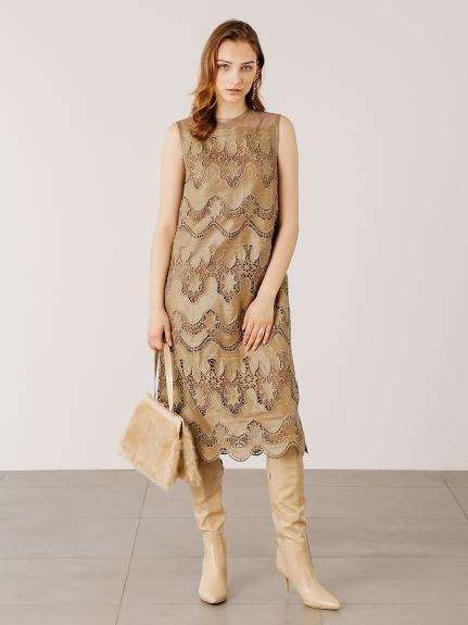 フェイクレザー刺繍ドレス