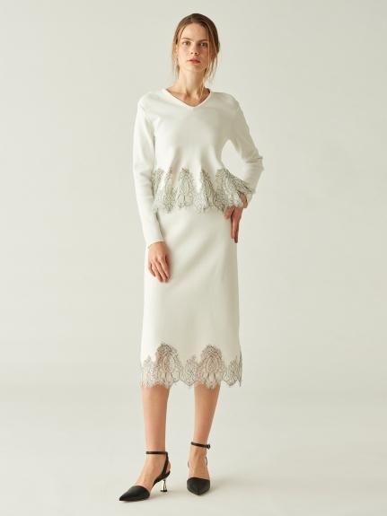 レース刺繍ニットスカート